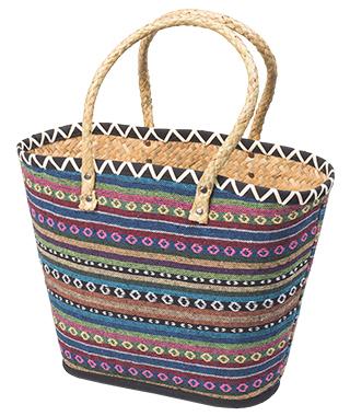 nákupní taška z palmových listů stripe