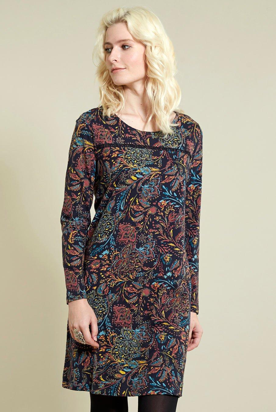 Tunikové šaty Amara z bio bavlny modré ⋆ Green butik cdd05f9502