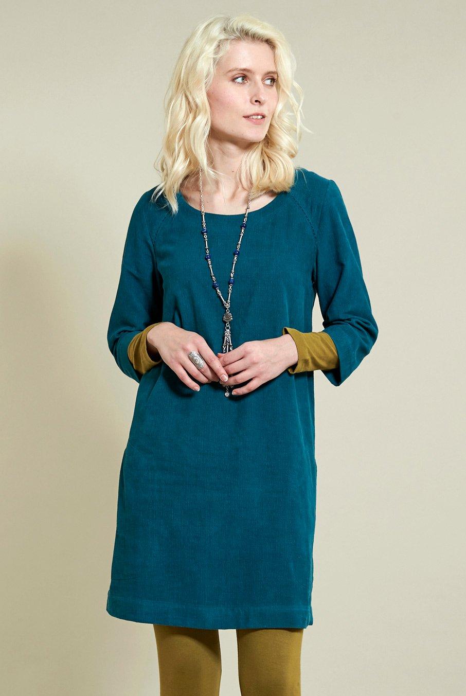 Manšestrové tunikové šaty modré ⋆ Green butik 2bdc45de77