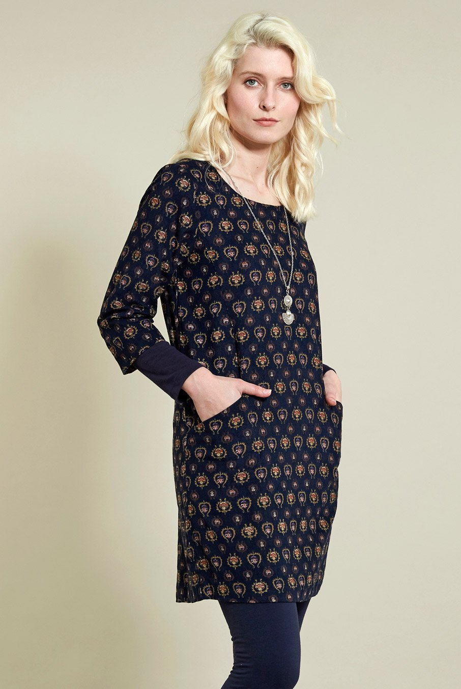 Manšestrové tunikové šaty Folk modré ⋆ Green butik bb152a9b4a
