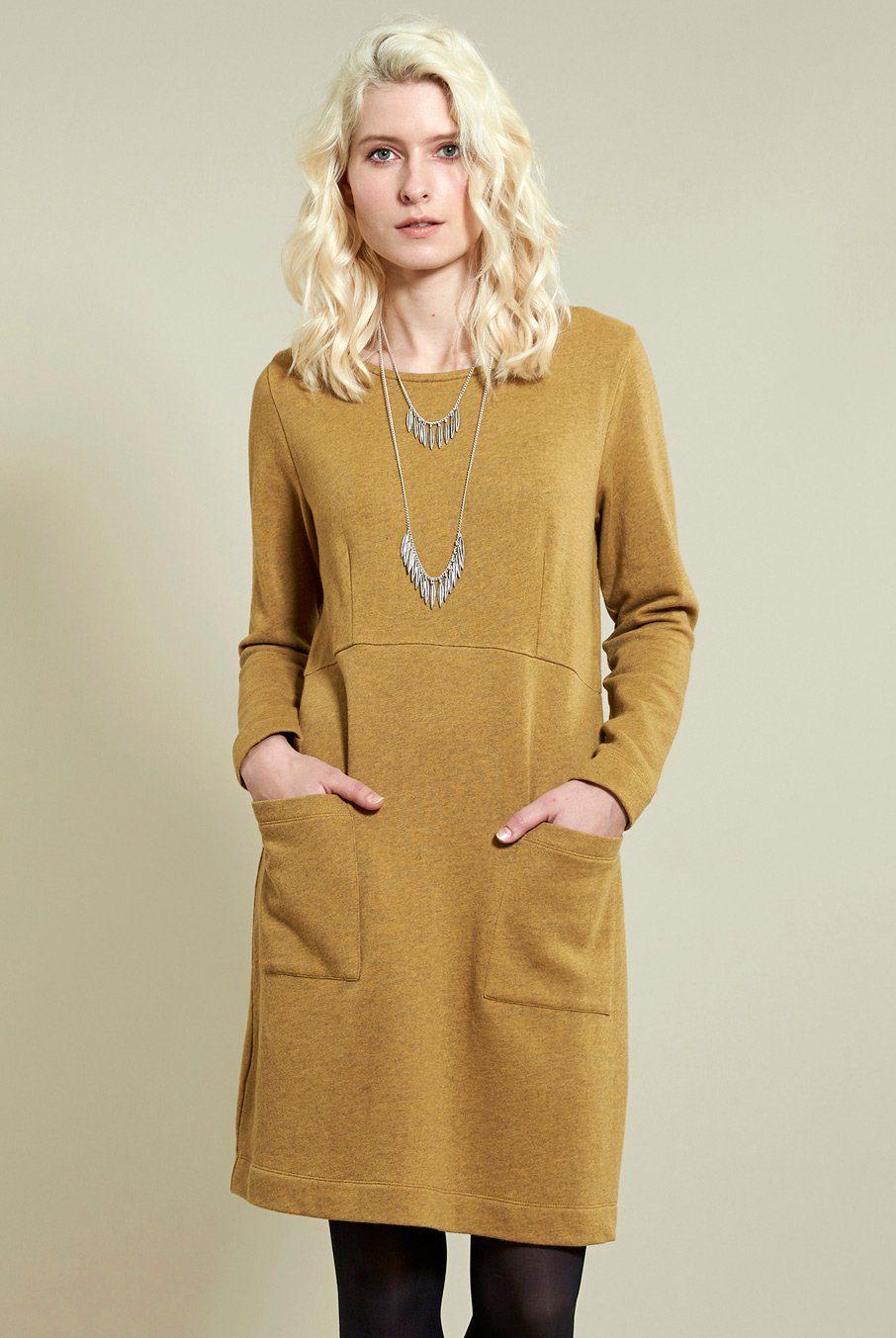 Tunikové šaty s kapsami okrové ⋆ Green butik 2b663ae992