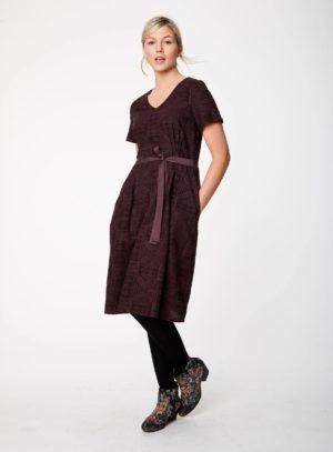 WWD3766-AUBERGINE--Artina-Aubergine-Belted-Waist-Rayon-Dress-0009.jpg