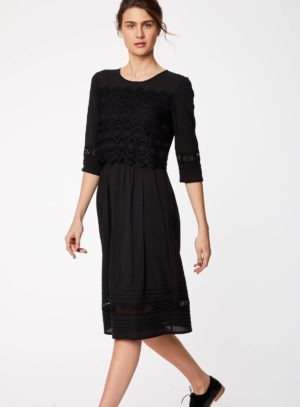 WWD3907-BLACK--Black-Organic-Cotton-Fit-and-Flare-Dress-With-Sleeves-0001.jpg