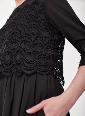 WWD3907-BLACK--Black-Organic-Cotton-Fit-and-Flare-Dress-With-Sleeves-0008.jpg
