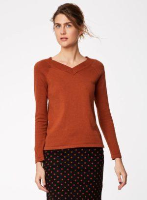 WWT3825-RUSSET-BROWN--Kathleen-V-neck-Knitter-Jumper-in-Organic-Cotton-Wool-0001.jpg