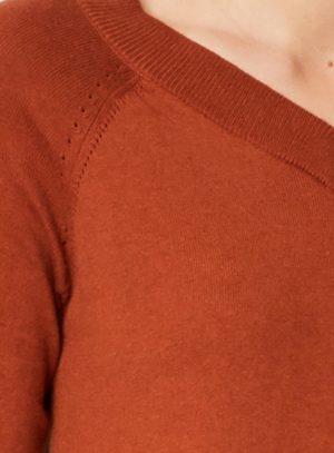 WWT3825-RUSSET-BROWN--Kathleen-V-neck-Knitter-Jumper-in-Organic-Cotton-Wool-0008.jpg