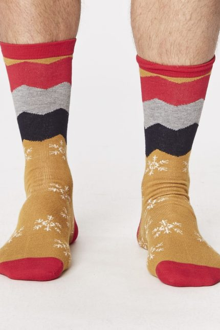 vánoční bambusové ponožky snowflake hořčicové