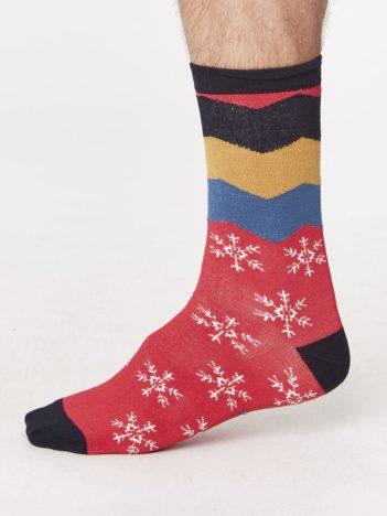 vánoční bambusové ponožky snowflake červené