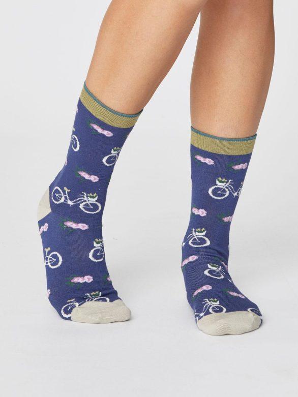 damske modre ponozky s jizdnimi koly thought SPW368 2