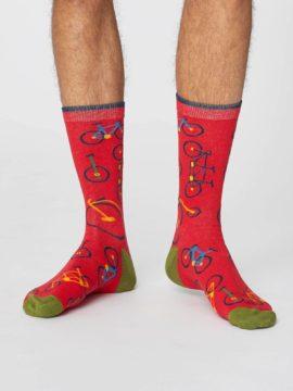 panske bambusove ponozky s kolem bicycle cervene thought SPM378