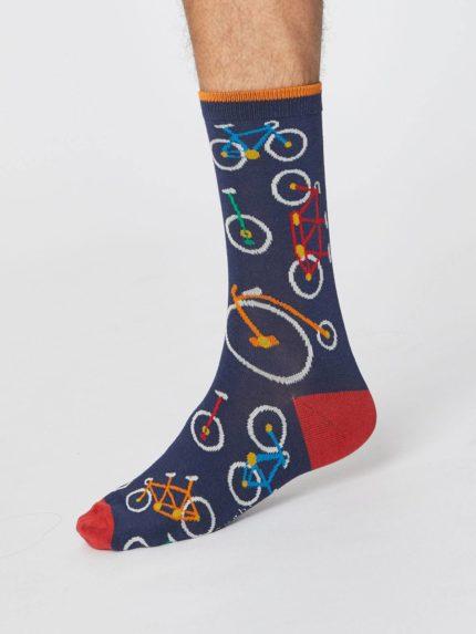 panske bambusove ponozky s kolem bicycle modre thought SPM378 3.jpg