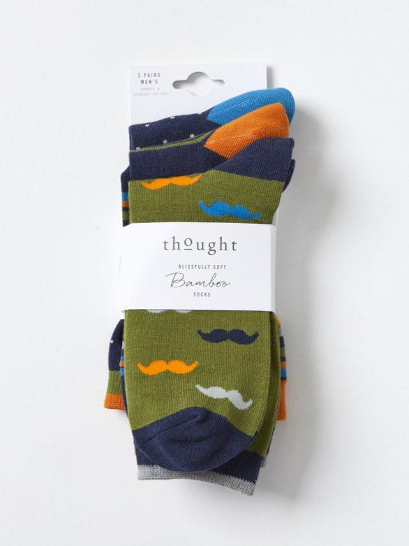 Trojbalení bambusových ponožek Moustache