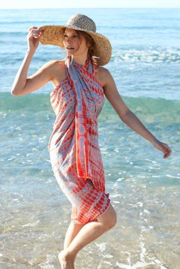 Batikovaný sarong oranžovo šedý