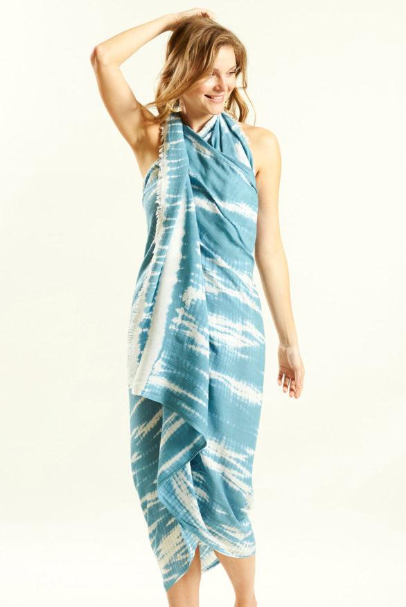 Batikovaný sarong modro bílý