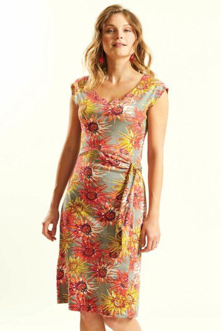 Šaty Cornflower z bio bavlny oranžovo-šedé