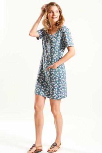 Tunikové šaty z bio bavlny Papillion modré