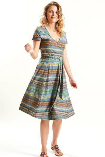 Šaty z bio bavlny Stripes šedé