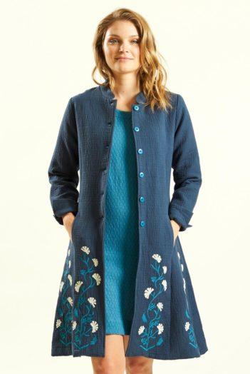Žakárový kabát modrý