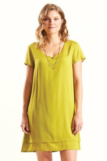 Vrstvené šaty žlutozelené