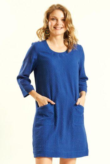 Ručně tkaná tunika modrá