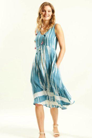 Batikované šaty modré
