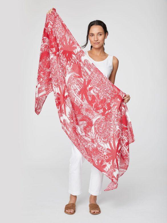 Bambusový šátek Palm House červený