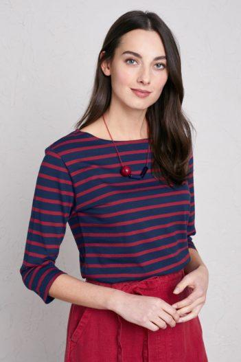 Top z bio bavlny Sailor modro-červený