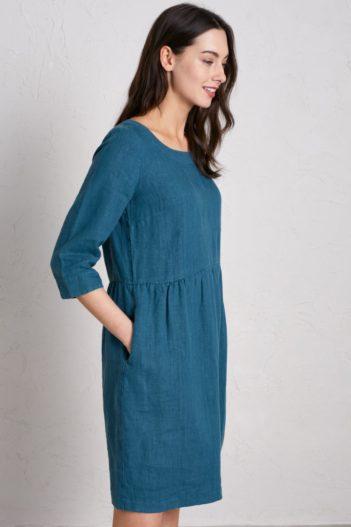 Lněné šaty Wild Orchid modré