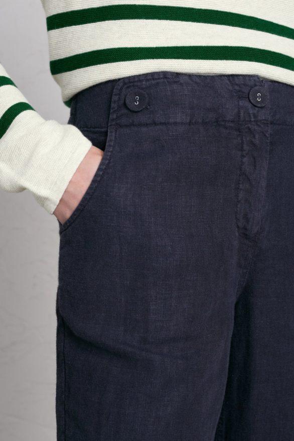 Lněné kalhoty Carhales tmavě šedé