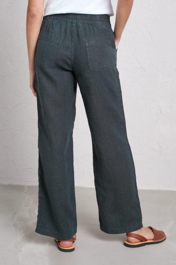 Lněné kalhoty Carhales šedozelené