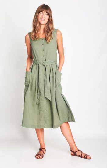 Šaty se lnem Margot zelené