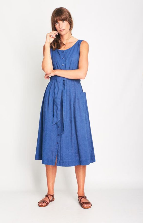 Šaty se lnem Margot modré