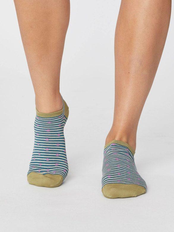 Bambusové ponožky Spot and Stripe tyrkysové