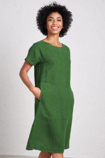Lněné šaty Primary zelené
