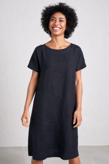 Lněné šaty Primary antracitové