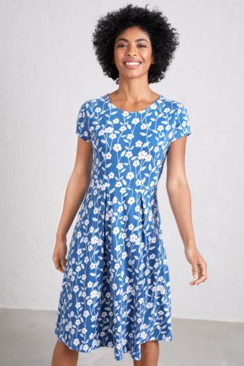 Šaty z bio bavlny Riviera modré