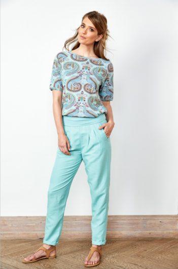 Lněné kalhoty tyrkysové