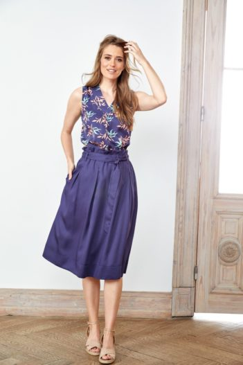 Tencelová midi sukně Popeline modrá