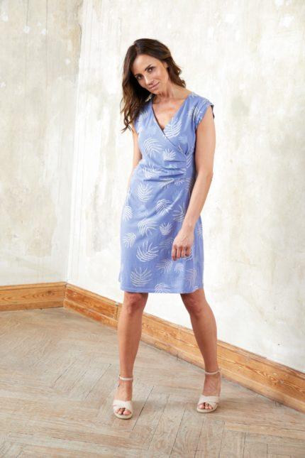 Šaty z bio bavlny Tropical Leaf modré