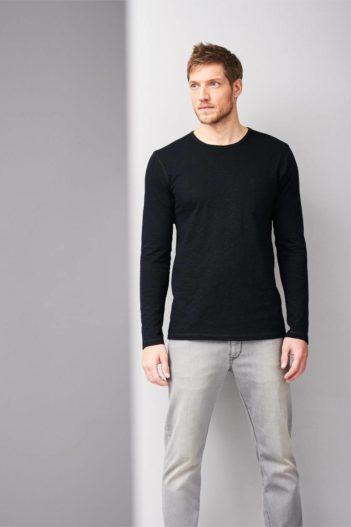 Tričko s dlouhým rukávem z bio bavlny Bruce černé