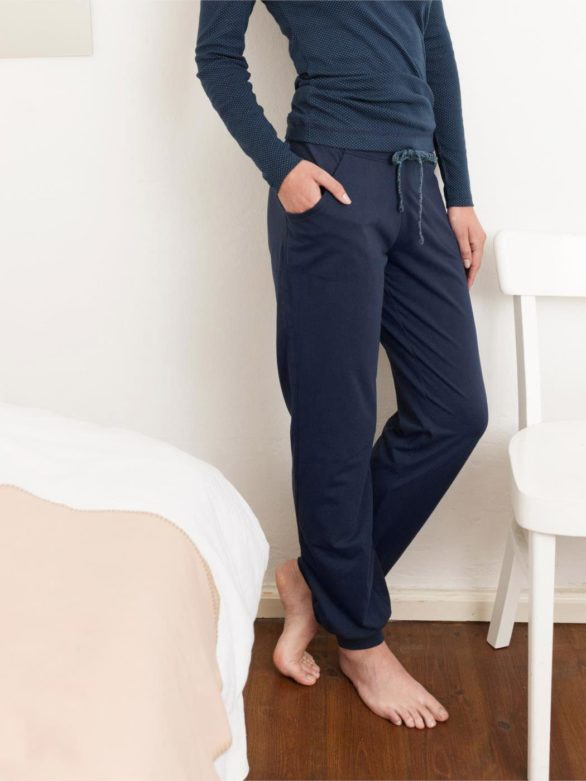 Tepláky z bio bavlny Bea modré