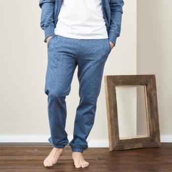 Tepláky z bio bavlny Calvin světle modré