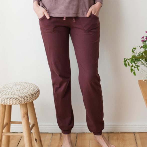 Tepláky z bio bavlny Bea fialové