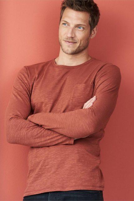 Tričko s dlouhým rukávem z bio bavlny Bruce oranžové
