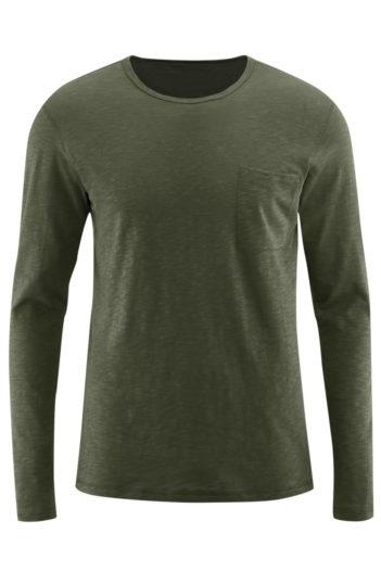 Tričko s dlouhým rukávem z bio bavlny Bruce olivové