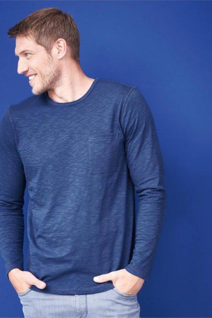 Tričko s dlouhým rukávem z bio bavlny Bruce modré