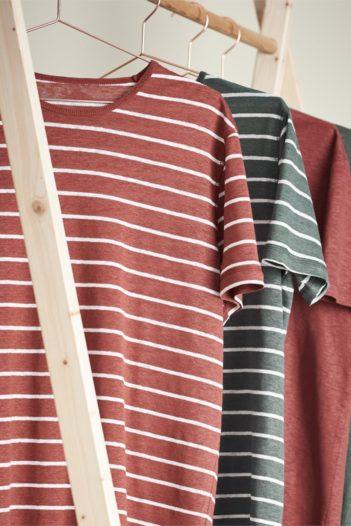 Lněné tričko Andy červené s proužky