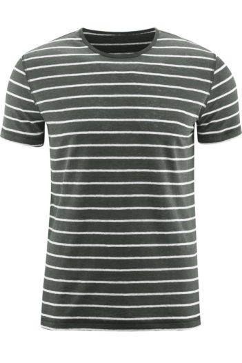 Lněné tričko Andy khaki s proužky