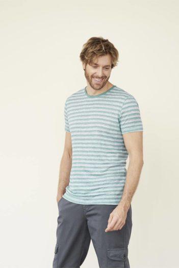 Lněné tričko Andy tyrkysové proužky
