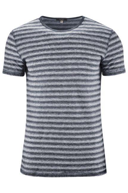 Lněné tričko Andy modré proužky